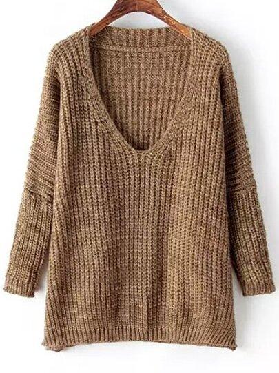 ef9c197ecae00 Khaki V Neck Long Sleeve Loose Knit Sweater