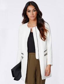 White Long Sleeve Round Neck Zipper Coat