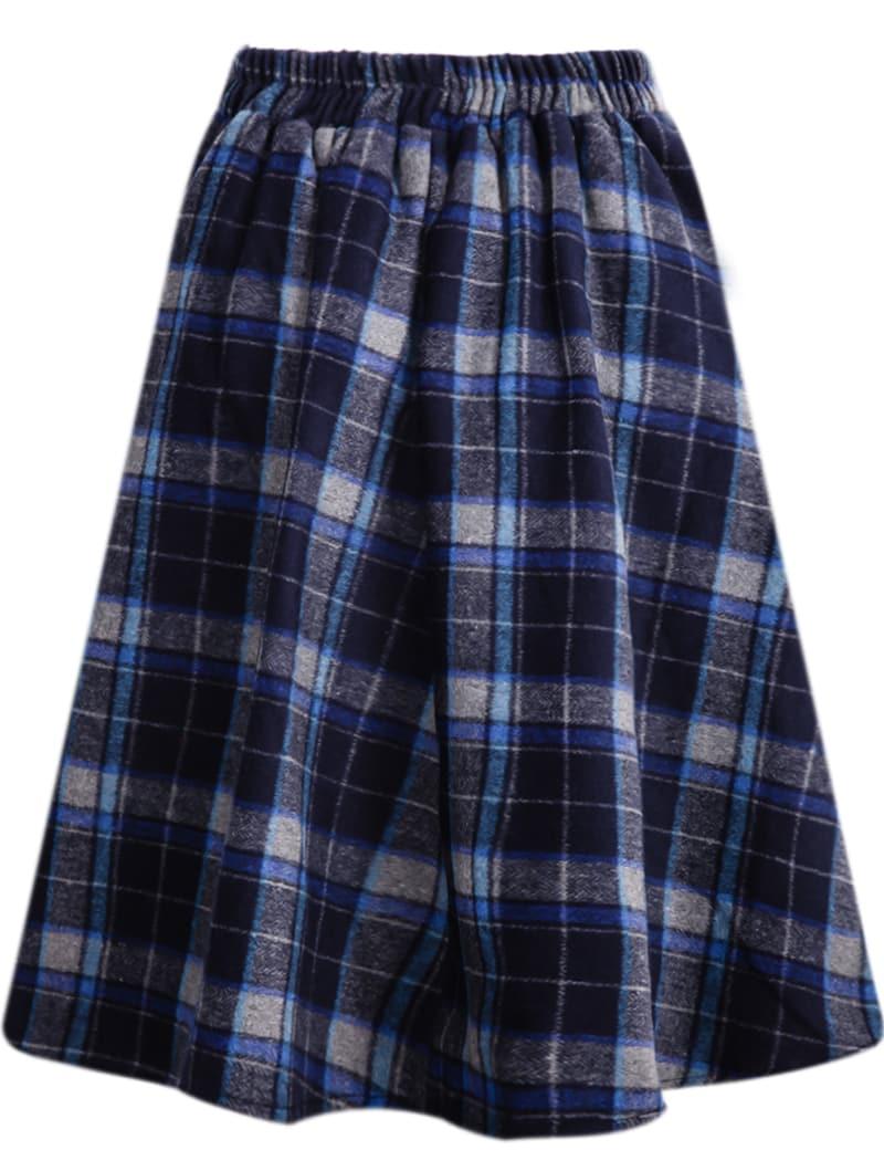 blue classic plaid midi skirt shein sheinside
