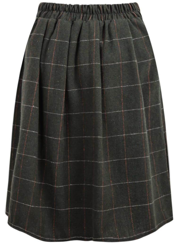 green plaid woolen midi skirt shein sheinside