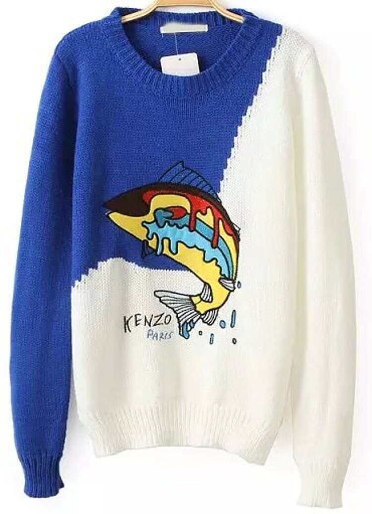 8bf5031543 Blue White Long Sleeve Shark Print Sweater   SHEIN