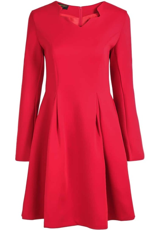 838e541268 Red V Neck Long Sleeve Simple Dress. AddThis Sharing Buttons