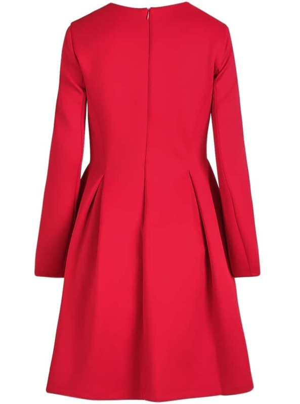 86e9f0449d Red V Neck Long Sleeve Simple Dress | SHEIN IN