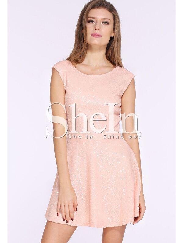 Vestido lentejuelas sin manga-dorado-Spanish SheIn(Sheinside)