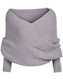 pull-over court en tricot épaule dénudée -gris