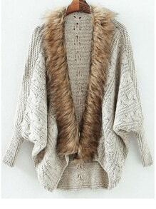 Grey Batwing Long Sleeve Contrast Fur Knit Cardigan