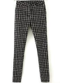 Black White Plaid Slim Pant