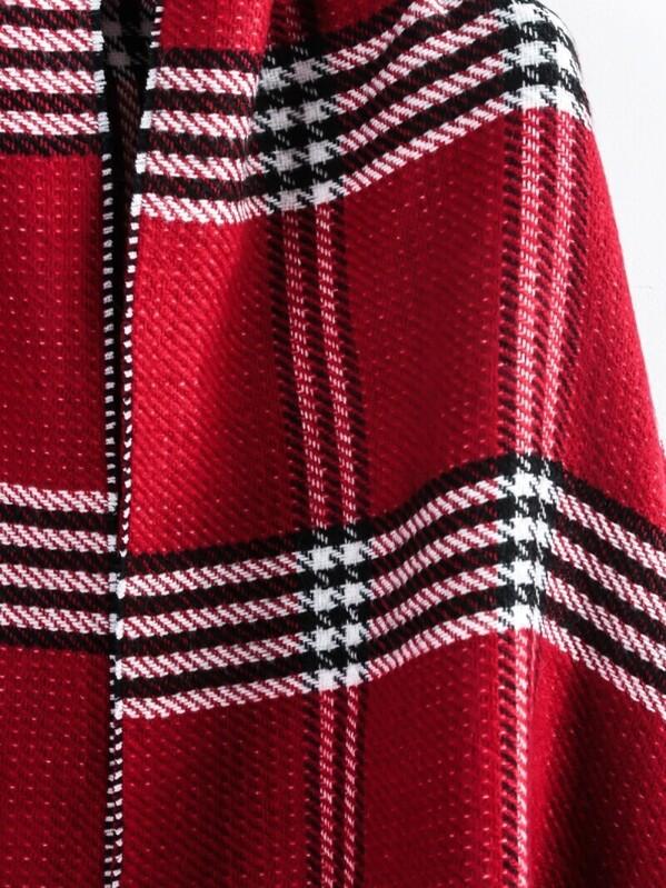 écharpe ornée de franges à plaid -rouge -French SheIn(Sheinside) 1cc62f9fd31