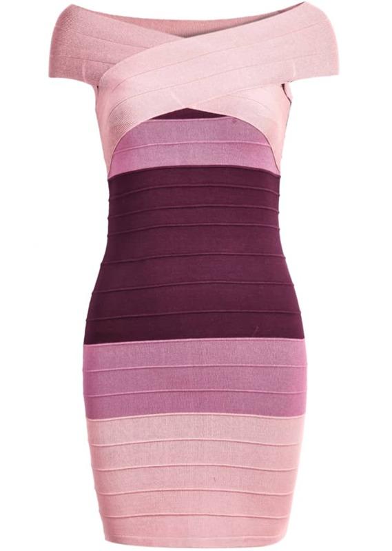350f5edd1e Pink Ombre Short Sleeve Bandage Dress