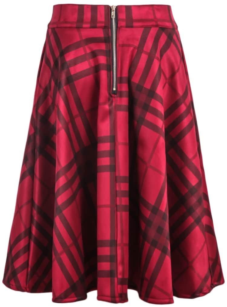 plaid pleated skirt shein sheinside