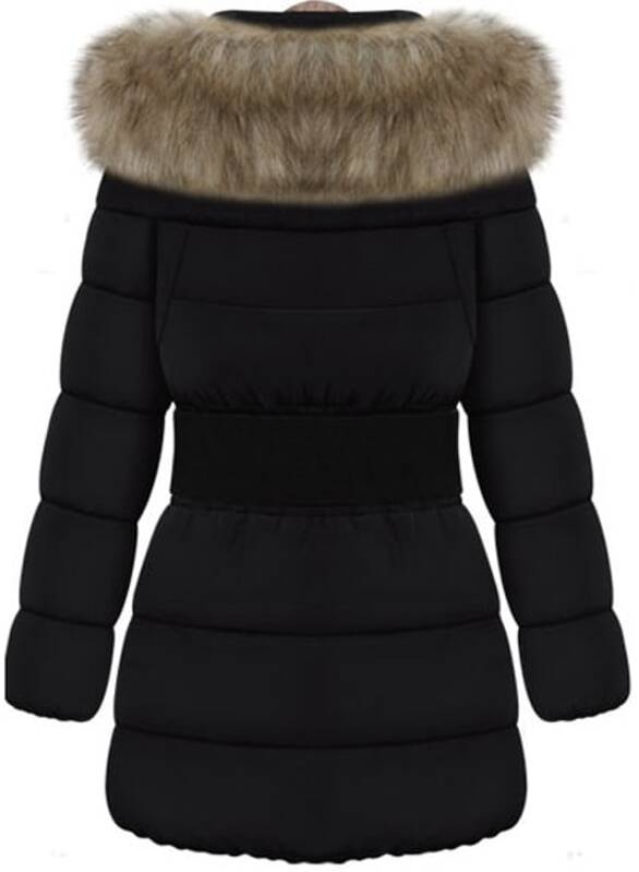 c454bd3658 Black Faux Fur Collar Long Sleeve Slim Down Coat | SHEIN