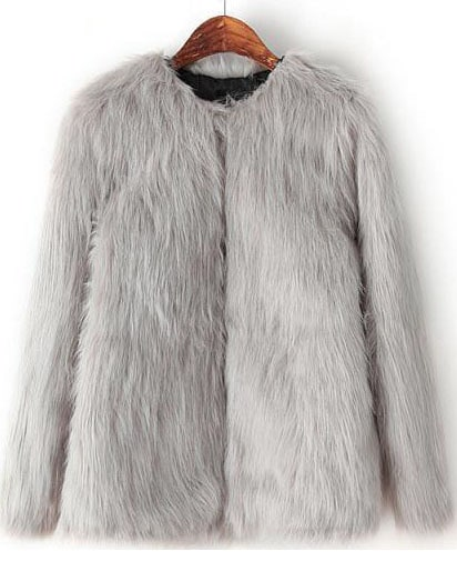 39168bc82a5d Grey Long Sleeve Crop Faux Fur Coat