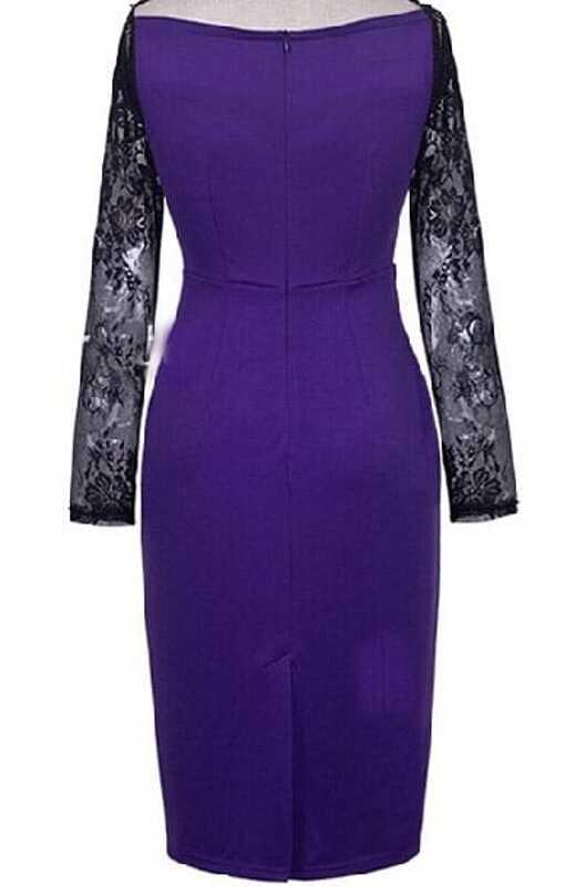 bc9011324dda Purple Lace Long Sleeve Bodycon Dress