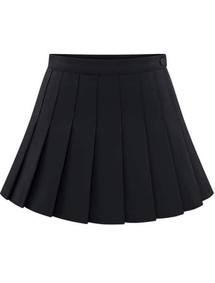 9a50151818 Black Buttons Pleated Skirt | SHEIN