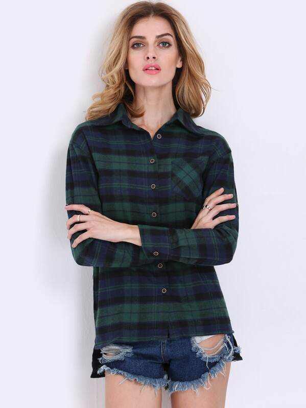 23111694d7999 Tartan Plaid Shirt With Chest Pocket
