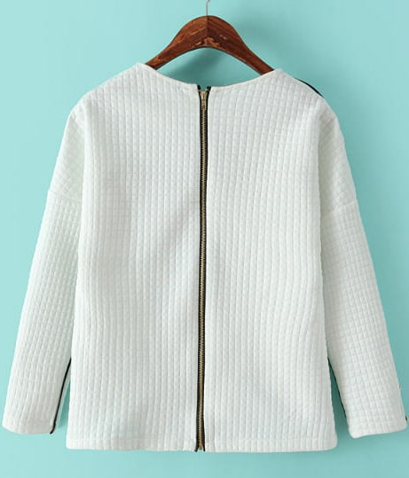 White Round Neck Long Sleeve Back Zipper T-shirt