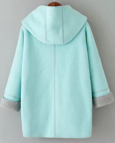 manteau plaid avec capuche manche longue bleu french. Black Bedroom Furniture Sets. Home Design Ideas