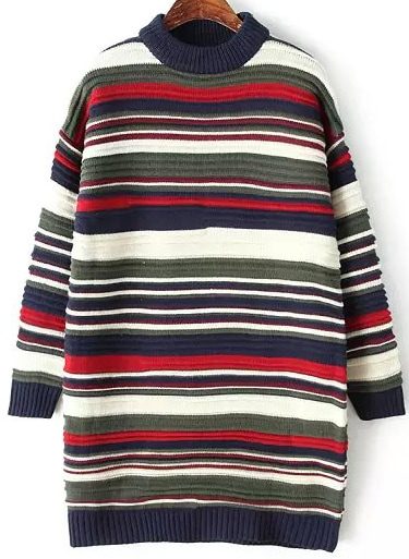 1ac1b3673f5 Multicolor High Neck Striped Sweater Dress