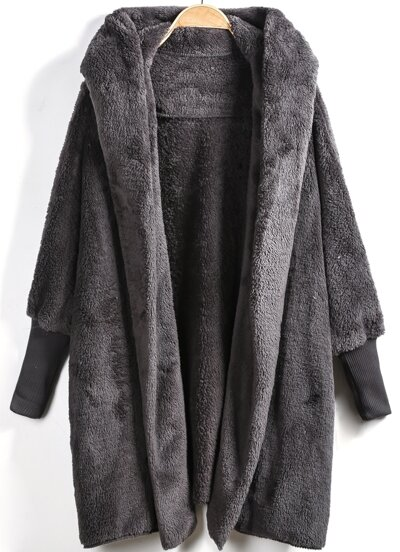 Open Front Faux Fur Hooded Teddy Coat 28e52b34456