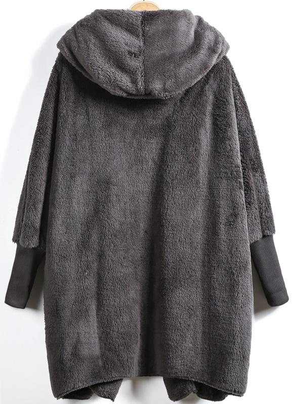 895b1ad743 Open Front Faux Fur Hooded Teddy Coat | SHEIN
