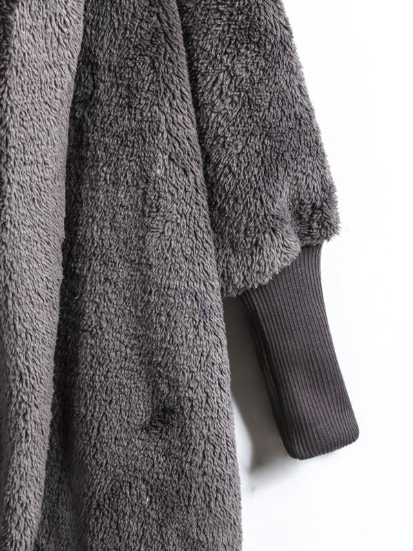 eb5ef9908b1 Open Front Faux Fur Hooded Teddy Coat