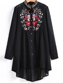 Embroidered Button Up Dip Hem Blouse