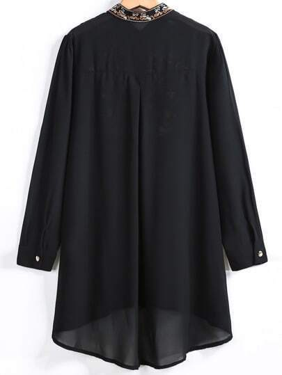 Black Long Sleeve Embroidered Dipped Hem Blouse -SheIn(Sheinside)