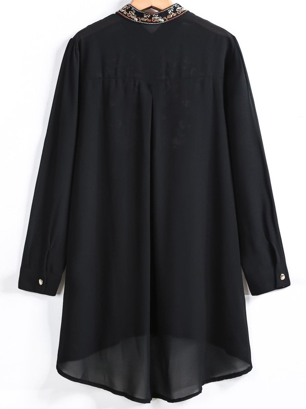 Black Long Sleeve Embroidered Dipped Hem Blouse DKNLPY