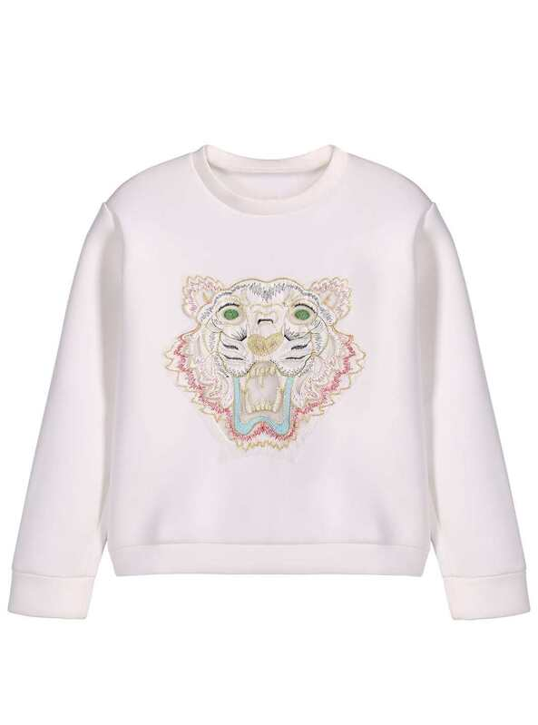 1d0609e6 White Round Neck Long Sleeve Embroidered Tiger Sweatshirt