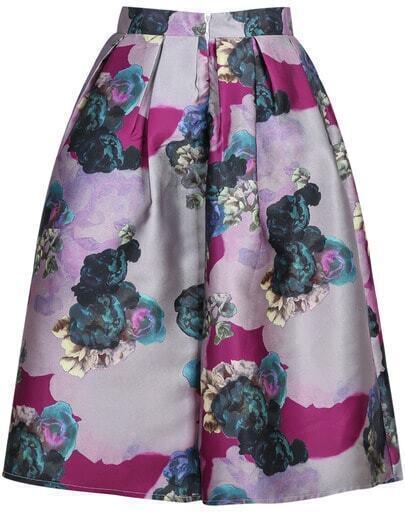 Purple Floral Skirt 102