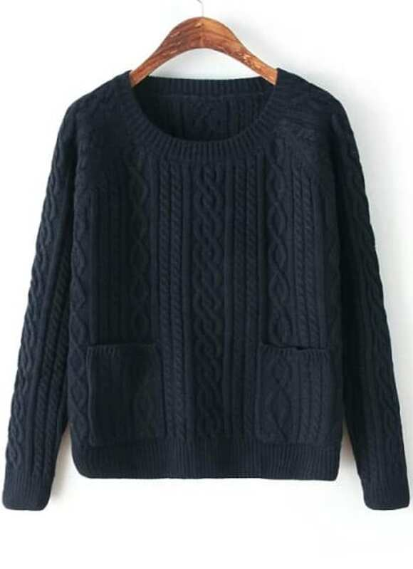 ff80a54bda Navy Round Neck Long Sleeve Pockets Cable Knit Sweater -SheIn(Sheinside)