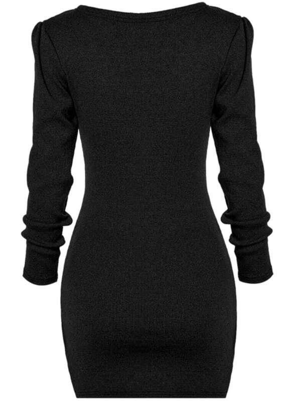 1200070f0f Black Deep V Neck Long Sleeve Bodycon Dress | SHEIN