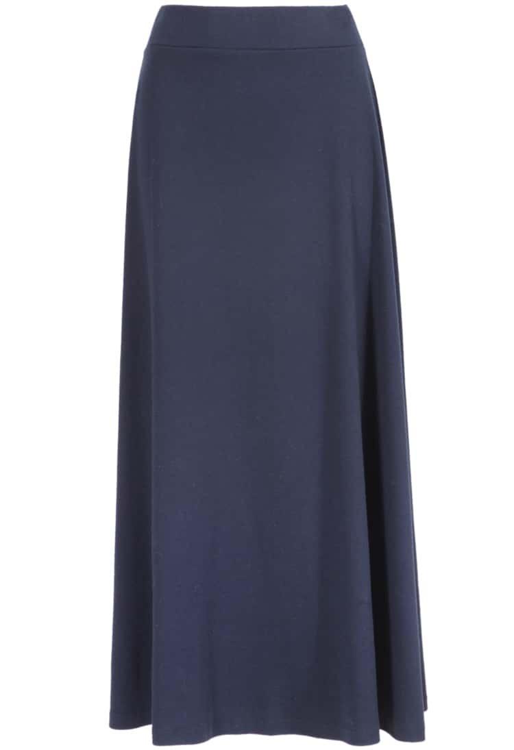 navy elastic waist pleated midi skirt shein sheinside