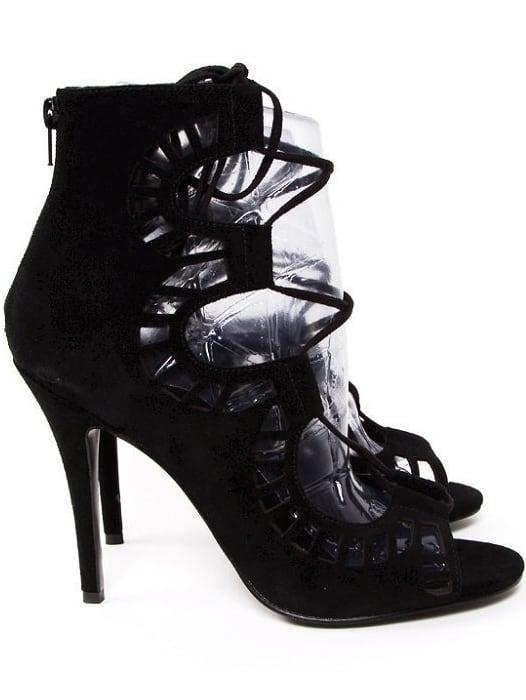Black CorrectedGrainLeather High Heeled Shoes