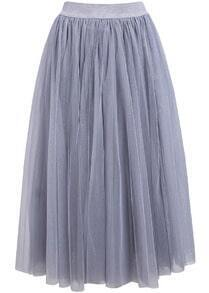 jupe tissu à mailles taille élastique -gris