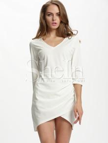 White v neck bodycon dress