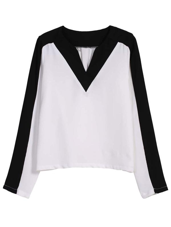 c8ee6e93ac0f Blusa suelta Crop cuello V-blanco