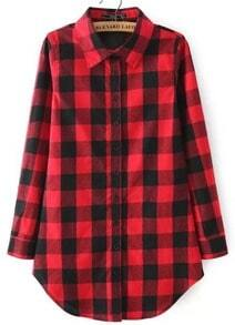 Red Buttons Long Sleeve Checker Plaid Blouse