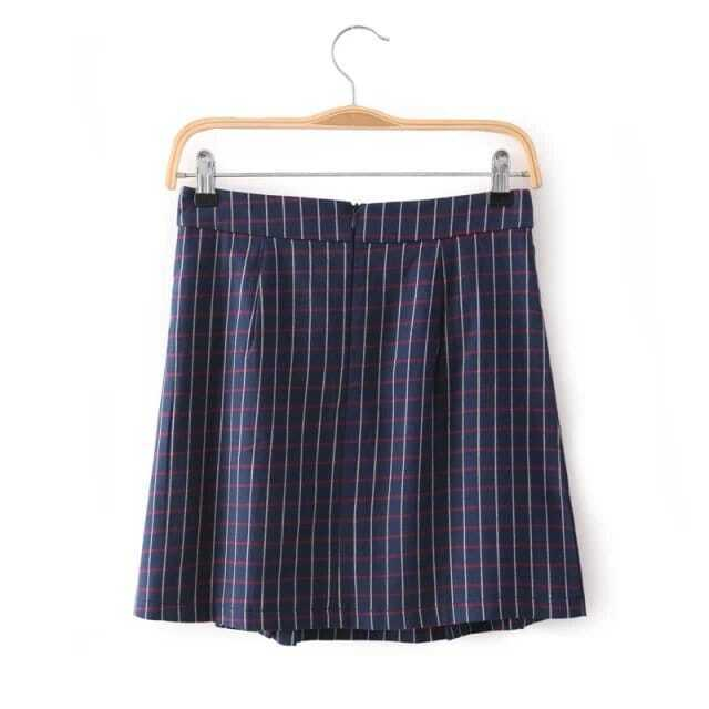 navy vintage plaid pleated skirt shein sheinside