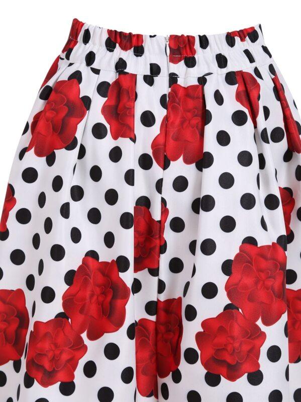 517024246f0 White Polka Dot Rose Print Skirt