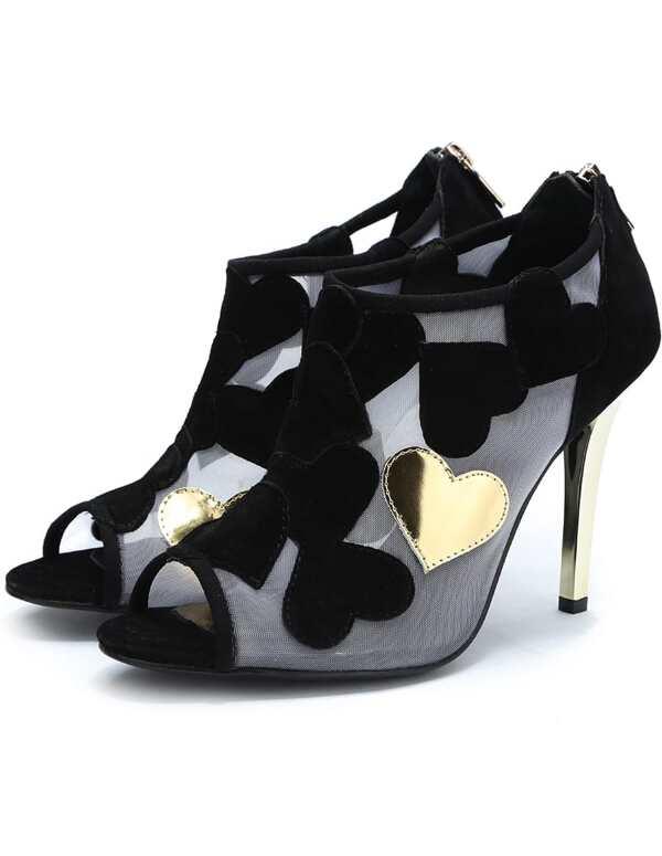 8c4e1cfaa1 Black Gold Peep Toe Heart Patch High Heel Shoes