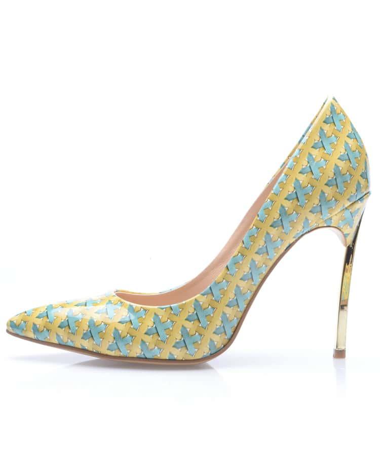 yellow high heel weave print shoes shein sheinside