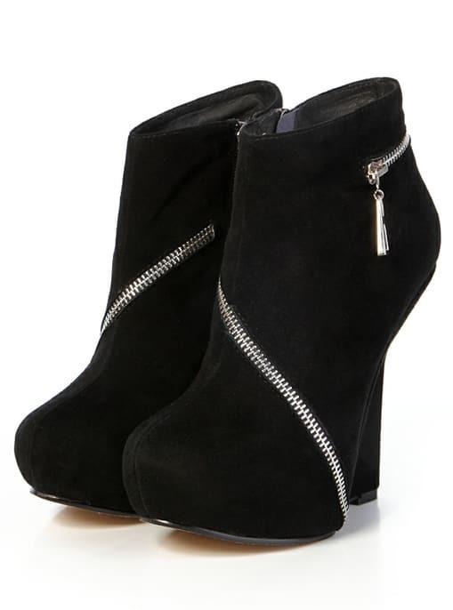 low priced 69fa5 41cb7 Keilabsatz Schuhe mit Reißverschluss-schwarz