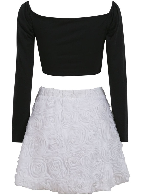 9d66a1e037e Black V Neck Long Sleeve Crop Top With White Skirt | SHEIN