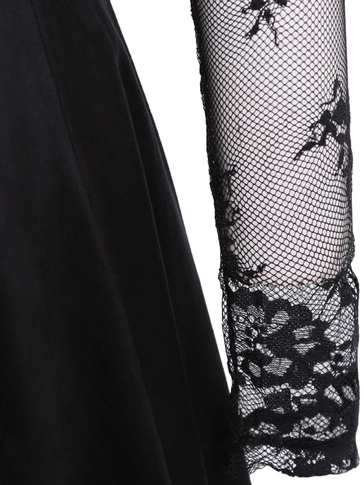 spitzenkleid langarm mit faltenrock schwarz german shein sheinside. Black Bedroom Furniture Sets. Home Design Ideas