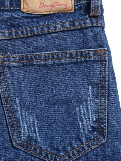 navy denim high low skirt shein sheinside