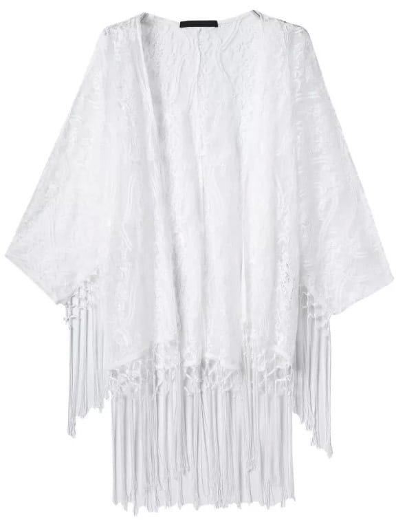 Kimono encaje flecos-blanco-Spanish SheIn(Sheinside)