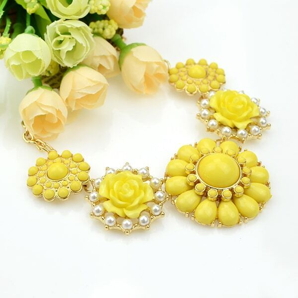 yellow gemstone gold flower necklace shein sheinside