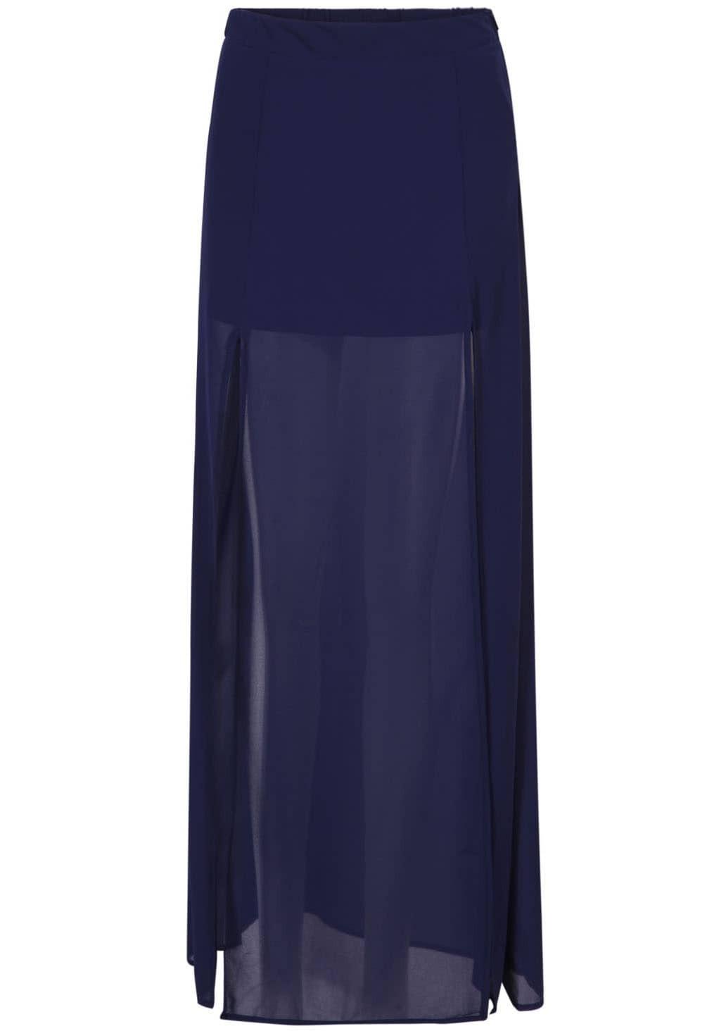 royal blue sheer split chiffon skirt shein sheinside