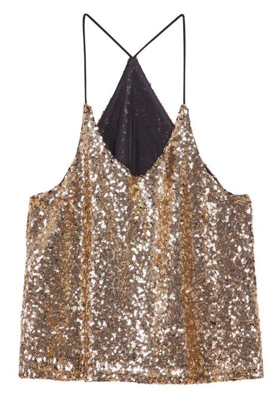 6258eff164db6 Gold Spaghetti Strap Sequined Vest